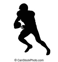 American football player, vector isolated silhouette. Running football player, side view