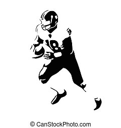 American football player vector illustration. Running isolated football player