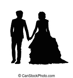 Wedding, newlyweds go side by side, holding hands. Man holding a woman's hand. Vector silhouette of couple. Husband in suit and wife in a long dress