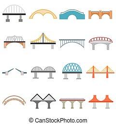 Bridge icons set, flat style - Bridge icons set in flat...