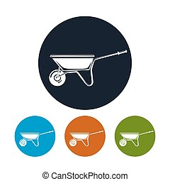 Wheelbarrow Icon, Agricultural Tool - Wheelbarrow Icon, Four...