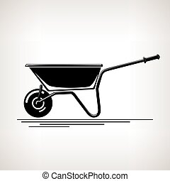 Silhouette a Wheelbarrow on a Light Background -...