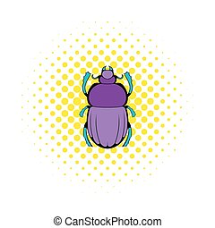 Scarab icon in comics style on a white background