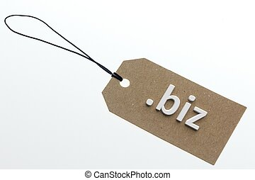 3D rendering biz link on paper tag - biz link on cardboard...