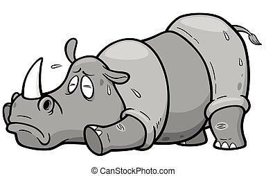 Rhinos - Vector illustration of Cartoon rhinos in Hot...