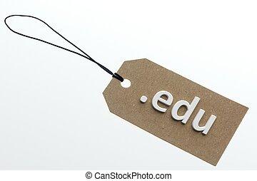 3D rendering edu link on paper tag - edu link on cardboard...