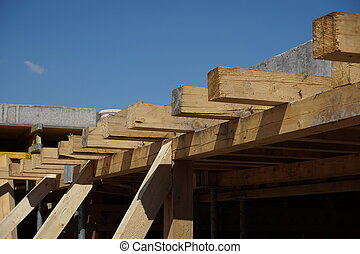 Wooden beam supporting construction