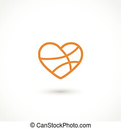 Basketball heart - Vector illustration of a basketball heart