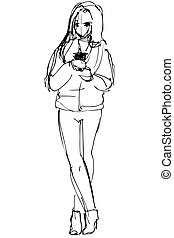 girl in a short jacket and trousers - black and white vector...