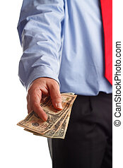 Payoff - A business man offering money as concept for...