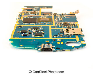 Smart Phone Motherboard Isolate on White Background