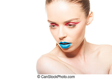blue lips and red eye liner