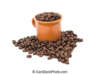 coffee beans with a cup of coffee isolated on white...