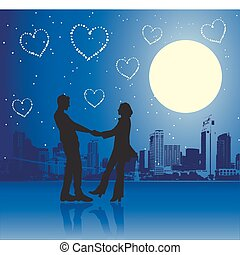 Valentine day, urban scene, couple