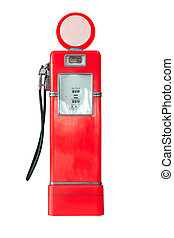 Vintage fuel pump on white background - Old red petrol...