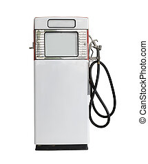 Vintage white fuel pump on white background - Old white...