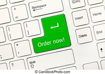 White conceptual keyboard - Order now (green key)
