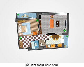 apartment plan top view - the layout of the apartment with...