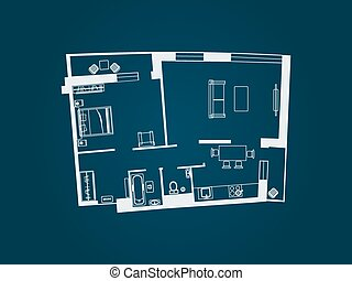 apartment plan top view - drawing of the layout of the...