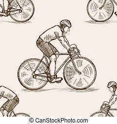Bicycle racer sketch seamless pattern vector
