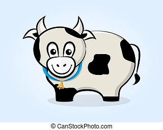 cow with a bell - Cute, friendly cartoon cow with a bell on...