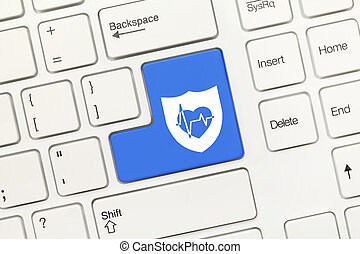 White conceptual keyboard - Blue key with shield and health...