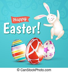 Easter eggs and white bunny