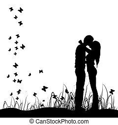 coppia, baci, prato, nero