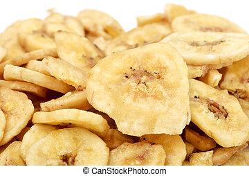 pedacitos, secado, plátano