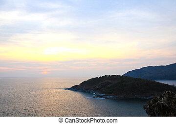Beautiful sunset at Promthep cape view point, Phuket,...