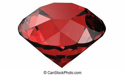 Ruby 3D render - Rubin rotating 3D render. Precious crystal
