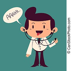 Happy Cartoon Doctor Saying Ahh - Vector illustration of a...