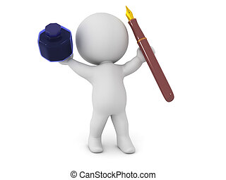 3D Character Holding Up Ink Pot and Fountain Pen - 3D...