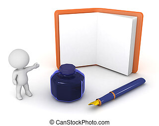 3D Character Showing Agenda plus Fountain Pen and Ink Pot -...