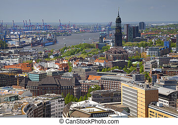Hamburg. - Aerial image of Hamburg with the St. Michael...