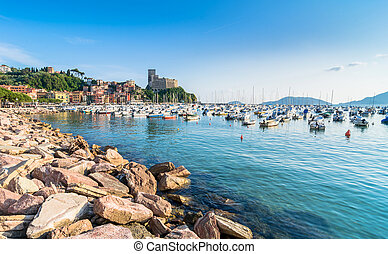 Lerici typical village, castle and port in Liguria - Lerici,...