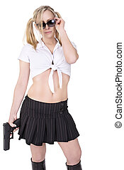 Sexy killer - Sexy woman holding gun, isolated on white...