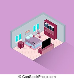 Interior of bedroom in an isometric view