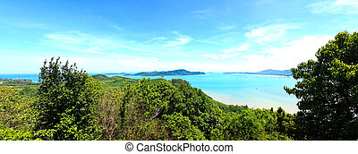 Panorama High angle view sea sky and seaside tourist town of...