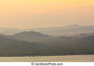 Sunset at scenic point of Khao Fha Chee, Ranong,Thailand