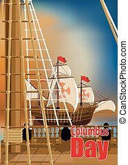 Columbus Day Card - Columbus Day The view from the deck of...