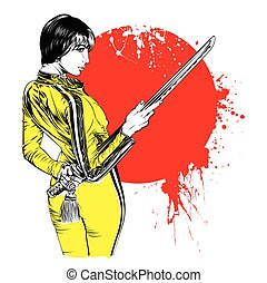 Women with sword on red sun