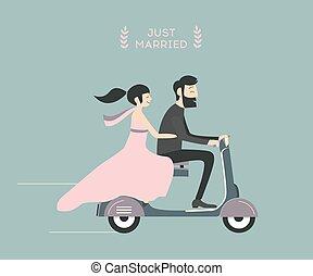 Wedding couple on motorcycle