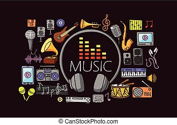 Music concept for web design template - vector illustration...