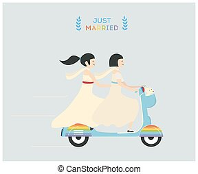 Wedding lesbian couple - Just married lesbian wedding couple...
