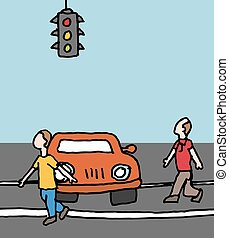 car blocking a crosswalk - An image of a car blocking a...