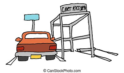 car parked next to a cart return - An image of a car parked...