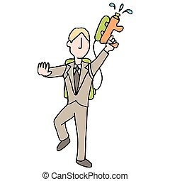 Businessman with water gun - An image of a businessman with...