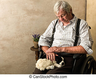 Old man with dog - Old pensioner in nursing home sleeping...