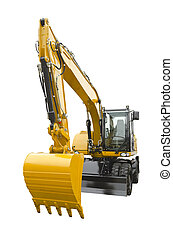 Excavator on a white background - Excavator isolated on a...